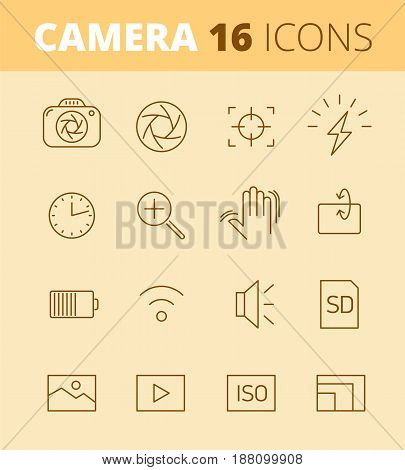 Digital photo camera outline icons: flash, timer, optical stabilizer, iso, battery, memory card, sensor resolution. Vector thin line symbol and pictogram set. Infographic elements for web networks.