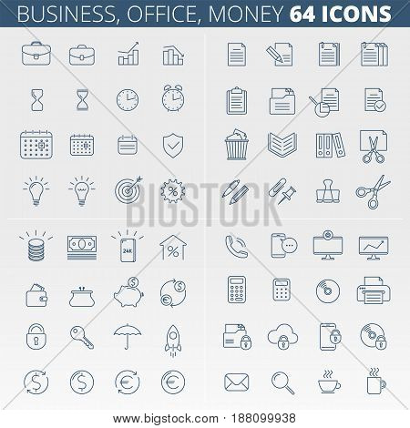 Business, office, money and data protection linear icon set. Documents supplies secure information flat outlined pictogram collection. Line vector concept symbols for web infographic presentations