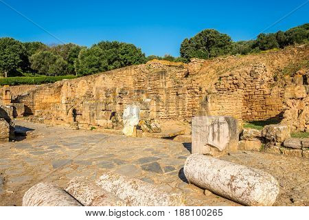 Ruins of Forum in ancient Chellah (Sala Colonia) in Rabat - Morocco