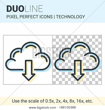 Pixel Perfect Duo Line Cloud Download Icon On White And Transparent Background For Responsive Web Or