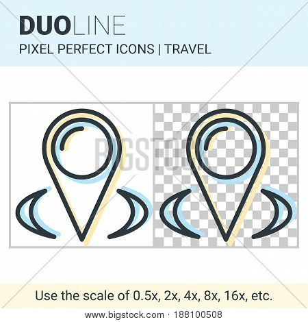Pixel Perfect Duo Line Map Pointer Icon On White And Transparent Background For Responsive Web Or Pr