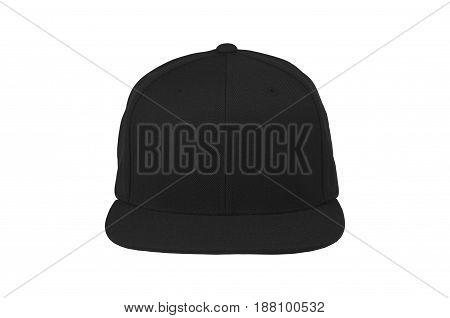 Blank flat snap back hat black front view on white background