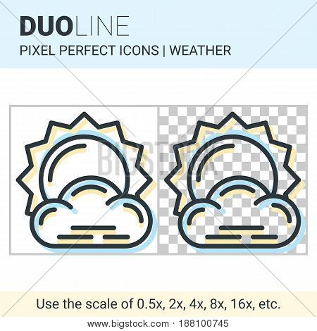 Pixel Perfect Duo Line Little Cloudy Icon On White And Transparent Background For Responsive Web Or