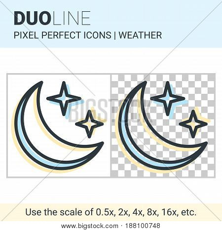 Pixel Perfect Duo Line Moon In The Starry Sky Icon On White And Transparent Background For Responsiv
