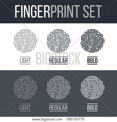 Fingerprint Icons Set Future Identification Authorization System on Dark and White Background