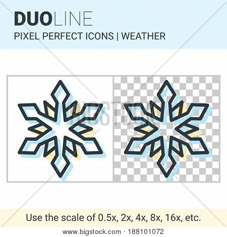 Pixel Perfect Duo Line Snowflake Icon On White And Transparent Background For Responsive Web Or Prod
