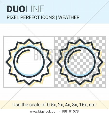 Pixel Perfect Duo Line Sun Icon On White And Transparent Background For Responsive Web Or Product De