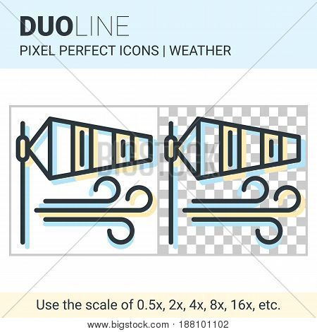 Pixel Perfect Duo Line Windsock Icon On White And Transparent Background For Responsive Web Or Produ