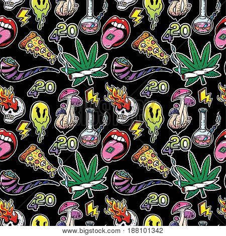 Vector seamless vintage pattern with stoned trippy drug theme and cool psychedepic character elements in cartoon 90s comic style. For wallpaper, pattern fills, web page background, surface textures.