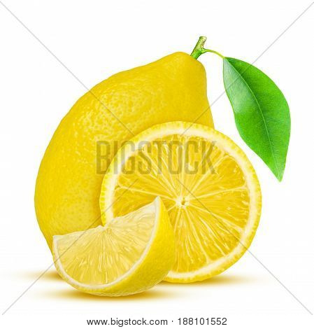 Lemon. Fruit with half and leaves isolated on white.