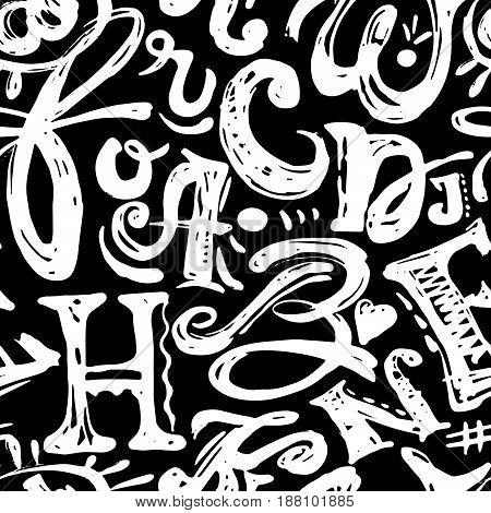 Seamless Alphabet Poster, Dry Brush Ink Artistic Modern Calligraphy Print.