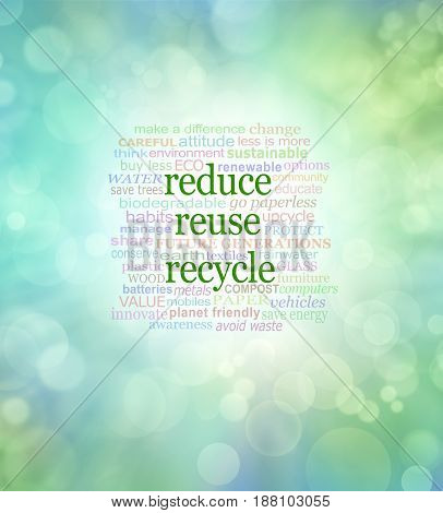 Reduce Reuse Recycle Word Cloud  - Green bokeh background with the words REDUCE REUSE RECYCLE in the centre surrounded by a relevant word cloud