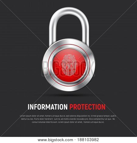 Template Of A Black Square Web Banner With A Hinged Metal Lock With A Fingerprint