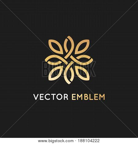 Vector Logo Design Template And Emblem  With Petals And Lines - Luxury Beauty Spa