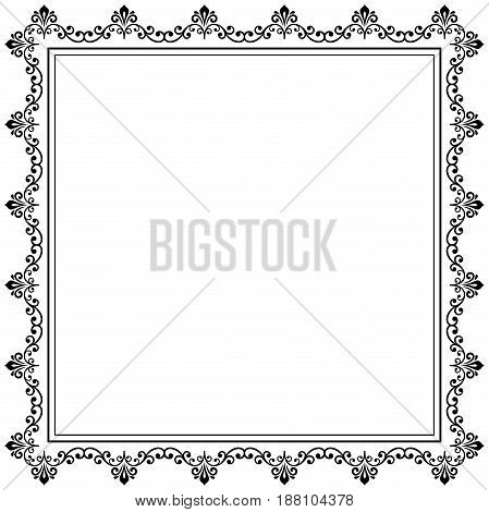 Classic square frame with arabesques and orient elements. Abstract ornament with place for text, Vintage black and white pattern