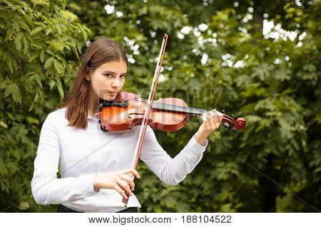 girl playes on the violin in the park