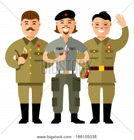 Russian, Cuban and North Korean. Isolated on a white background
