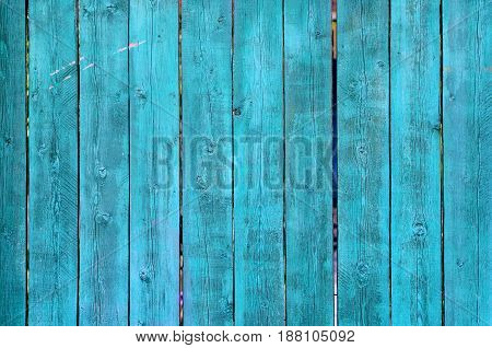 Cracked Weathered Green And Blue Painted Wooden Board Texture, Front View