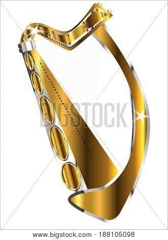 A traditional gold Irish harp over a white background