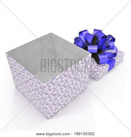 Blue gift-box with ribbon bow on white background. 3D illustration
