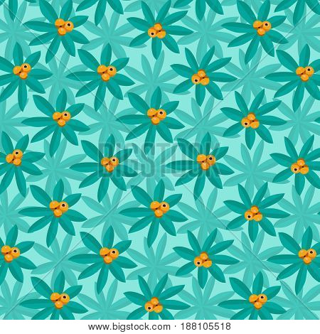 Tropical Plant Pattern with orange citrus fruit on summery background