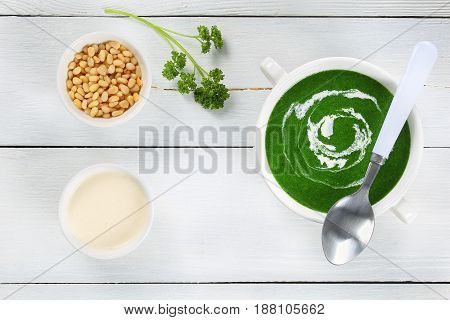 Delicious Spinach Soupl, View From Above