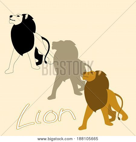 lion vector illustration style Flat set silhouette