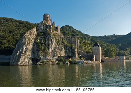 Golubac fortress view from a ship at Danube river in Serbia