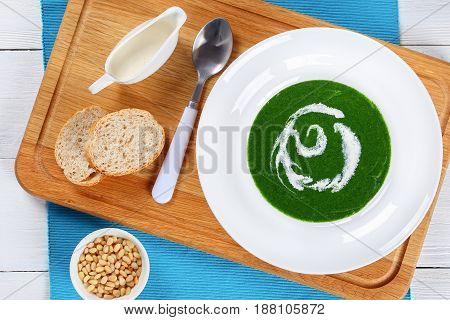Cold Summer Healthy Soup Of Spinach