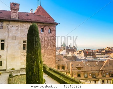 Chateau Saint-Maire and Skyline of Lausanne, Switzerland