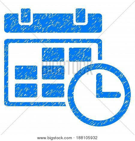Grunge Date And Time icon with grunge design and unclean texture. Unclean vector blue pictogram for rubber seal stamp imitations and watermarks. Draft sticker symbol.