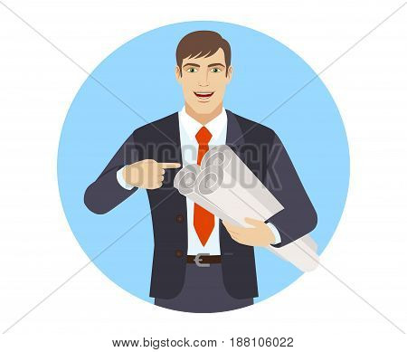 Businessman pointing at a project plans. Portrait of businessman character in a flat style. Vector illustration.