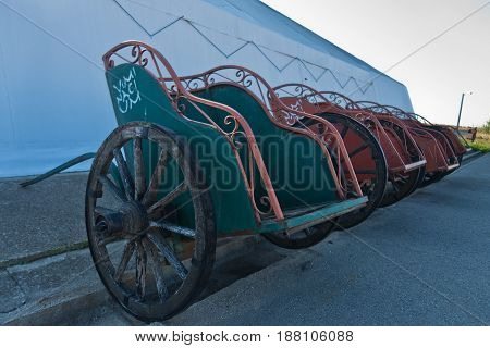 Roman carriage replica at Viminacium archeological site near Danube river in Serbia