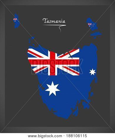 Tasmania Map With Australian National Flag Illustration
