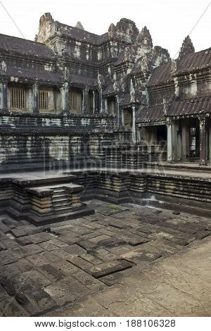 Purification pool in Angkor Wat Temple Cambodia.