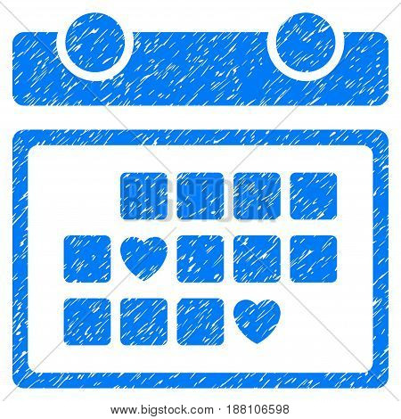 Grunge Favourite Days icon with grunge design and unclean texture. Unclean vector blue pictogram for rubber seal stamp imitations and watermarks. Draft emblem symbol.