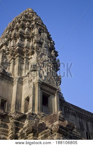 One of the towers in the Angkor Wat Temple, Cambodia.
