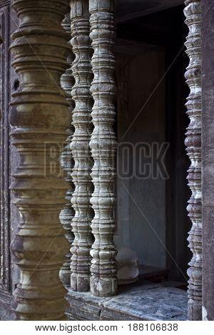 Window bar carvings in Angkor Wat Temple Cambodia.