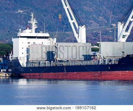 detail of bulk carrier in a harbour italy