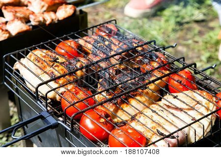 Chicken With Tomatoes Roasted On The Grill, Barbecue, Picnic