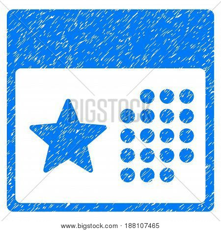 Grunge Holiday Calendar icon with grunge design and unclean texture. Unclean vector blue pictogram for rubber seal stamp imitations and watermarks. Draft emblem symbol.
