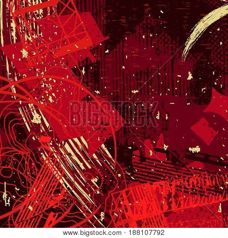 red artistic neo-grunge style abstract backgrounds, made with hand drawn textures and brushes