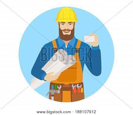 Worker holding the project plans and showing the business card. Portrait of worker character in a flat style. Vector illustration.