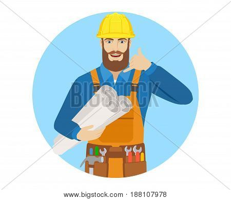 Call me! Worker holding the project plans and showing a call me sign. Portrait of worker character in a flat style. Vector illustration.