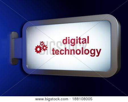 Data concept: Digital Technology and Gears on advertising billboard background, 3D rendering