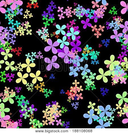 Abstract colorful leaves on black background, Multicolor floral pattern, Leafy texture in rainbow colors, Seamless four leaf clover illustration
