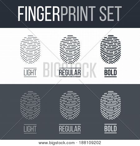 Biometric Fingerprints Set Print for Identity Person