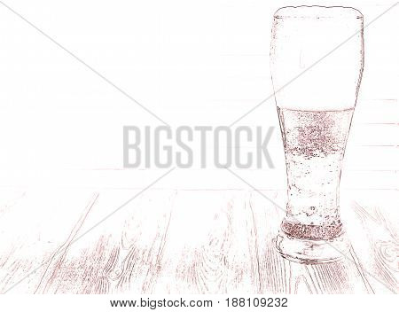 A large glass of beer. On the wooden table stands just poured a glass of beer. High foam in the glass. Light beer. White foam on the beer.