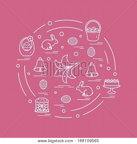 Cute Vector Illustration With Different Symbols For Easter Arranged In A Circle. Including Icons Of