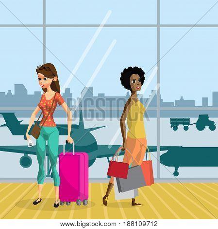 Young women with things in the airport terminal awaiting the flight. Girls travel with luggage ready for the departure of the aircraft. Flat vector cartoon illustration